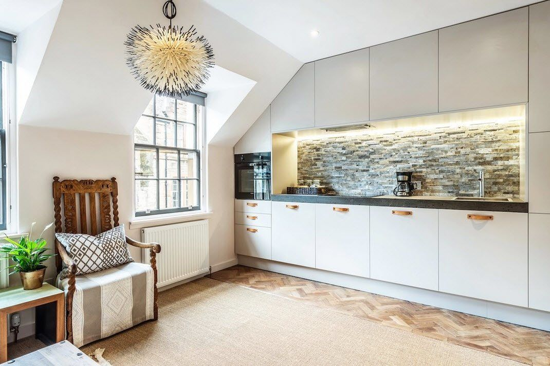 Scottish Apartment Unusual Country Interior Design. Wall kitchen set with nice stone structure of the backsplash