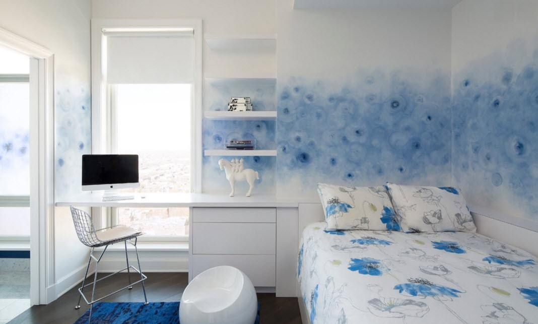 Bedroom Furniture Design Trends 2016. Bluish decoration for the multifunctional slepping and working zone
