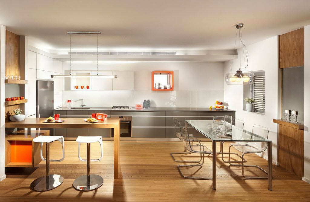 Combined Kitchen and Living Room Interior Design Ideas. Hi-tech light interior