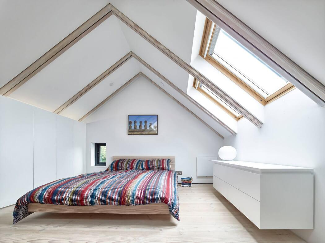 Bedroom Furniture Design Trends 2016. Roof sloping is the design zest of the white interior of the room with wooden beams