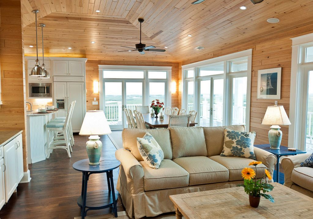 Combined Kitchen and Living Room Interior Design Ideas. Rustic southern country interior with fans and wooden panels