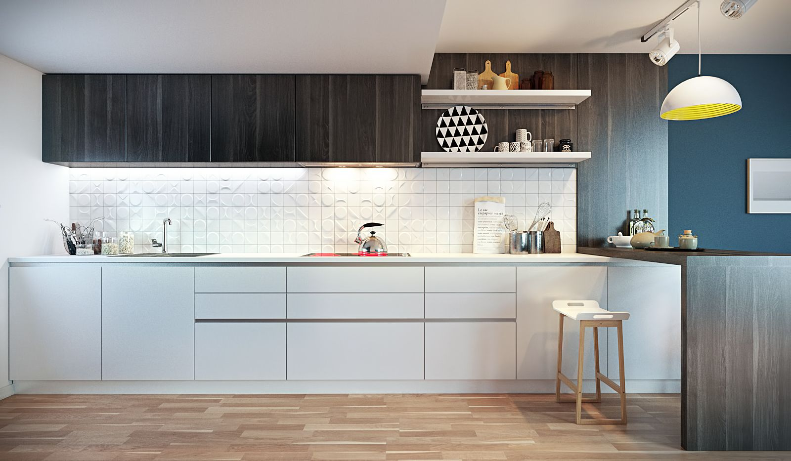 Choosing Best Kitchen Tile Ideas. Linear layout of the contrasting furniture set and stone tile as a backsplash