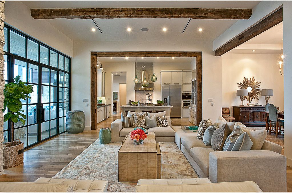 Opening For The Zoning Combined Kitchen And Living Room Interior Design Ideas Wooden Framed In White Ambience