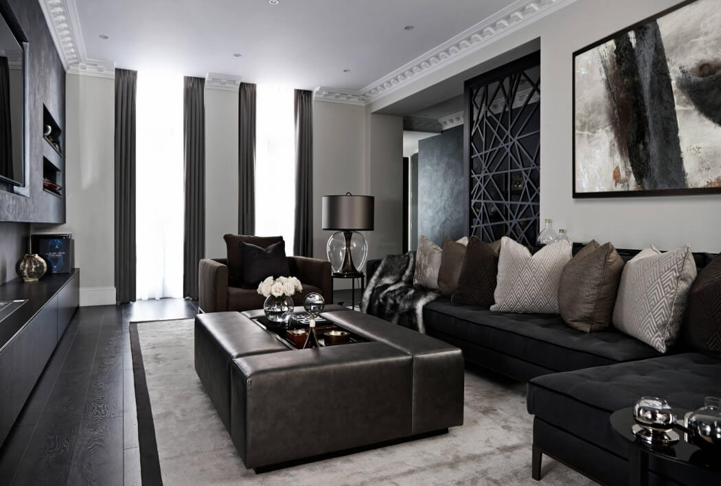 Modern Interior Design Laminate Use. Black contrasting room with unusual square coach in the center