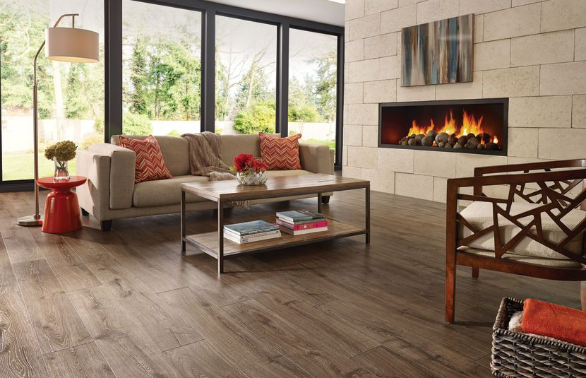 Modern Interior Design Laminate Use. Electric fireplace in the simple designed room