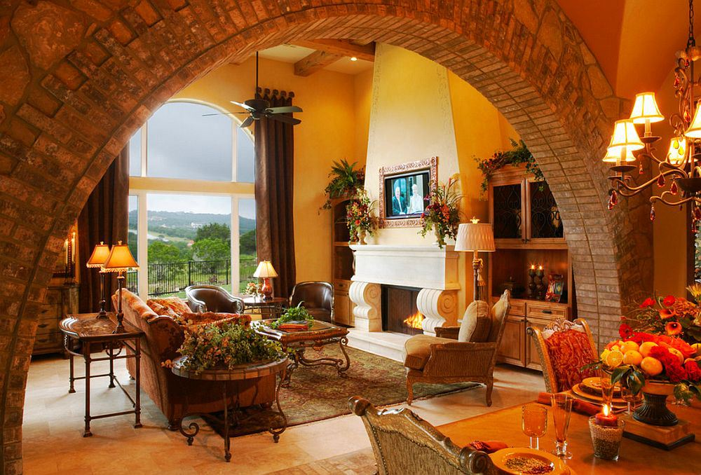 Interior Room Arches Decoration Ideas. Sun lit warm ambience of the living room in the house