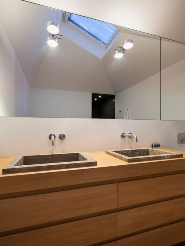 German Minimalistic House Brief Overview. Bathroom with wooden sinks