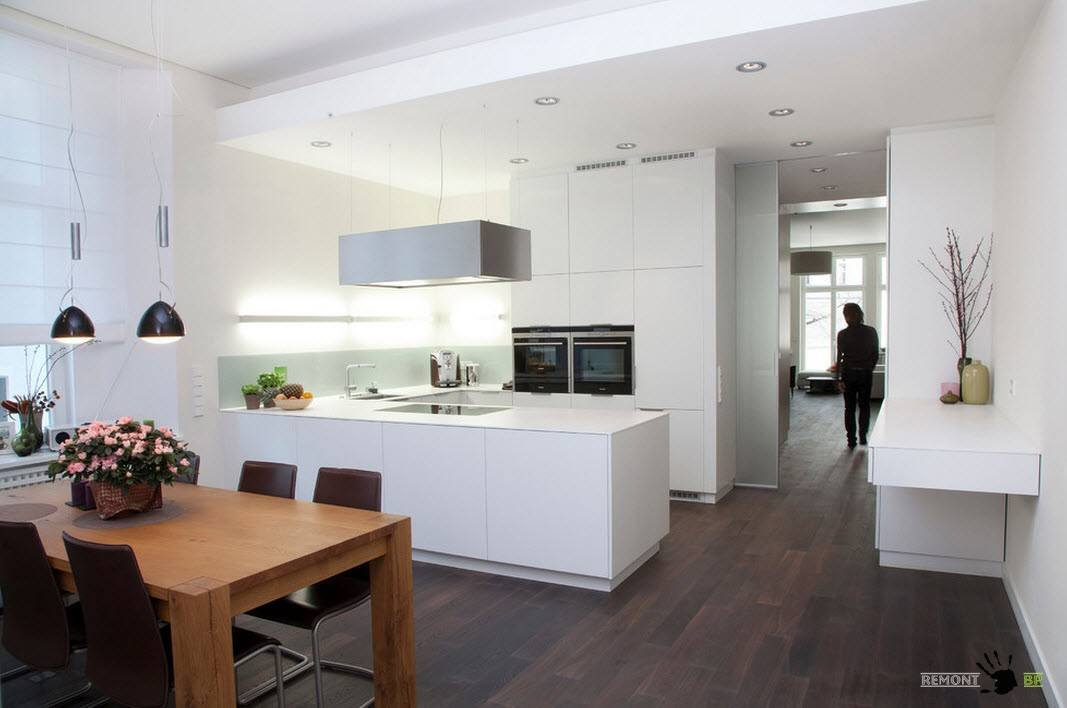 Modern Interior Design Laminate Use. White hi-tech kitchen and the dark laminate combination