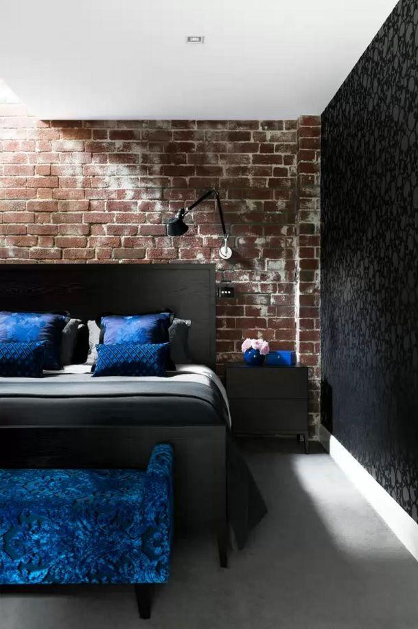 Modern Bedroom Design Trends 2016 . brickwork in the black and blue decorated loft interior