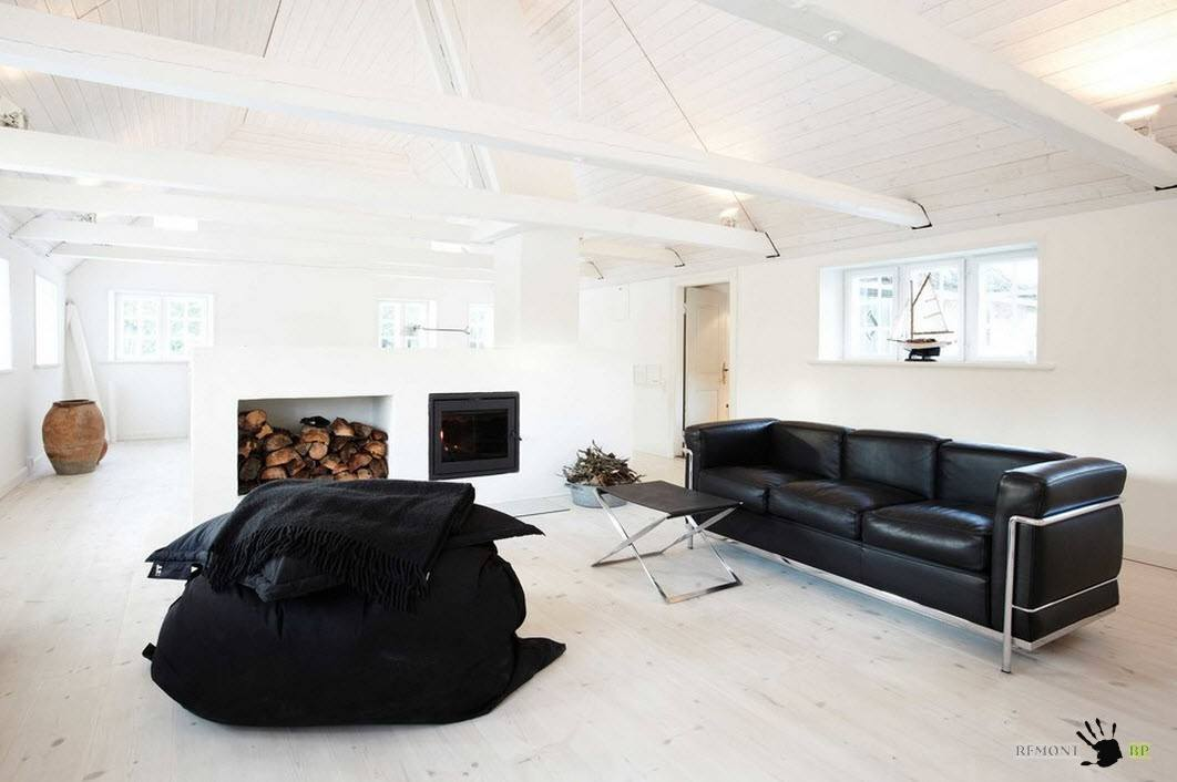 Modern Interior Design Laminate Use. Lucky combintaion of the black furniture with light interior in the Scandinavian style
