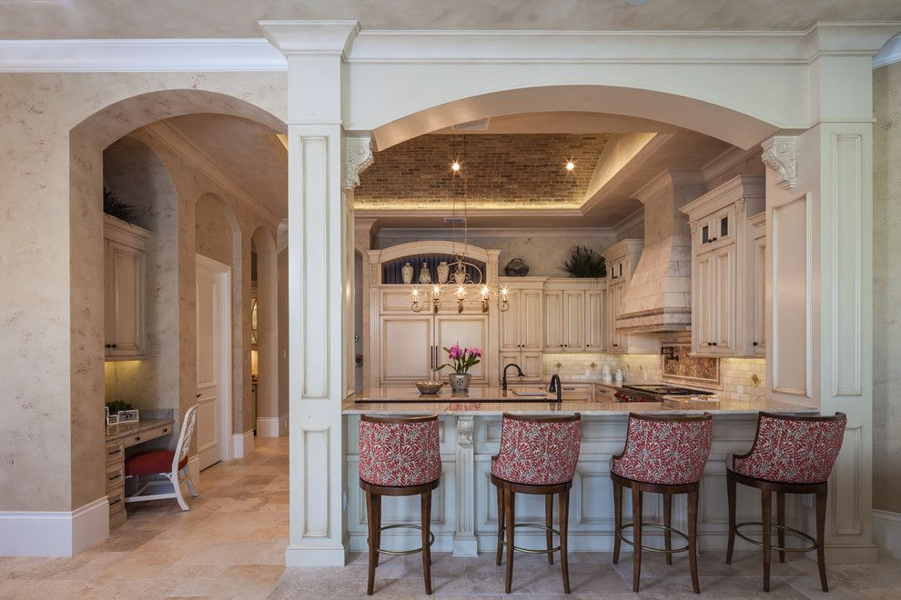 Interior Room Arches Decoration Ideas. Kitchen With The Zoning, Decoration  And Nice Upholstered Chairs