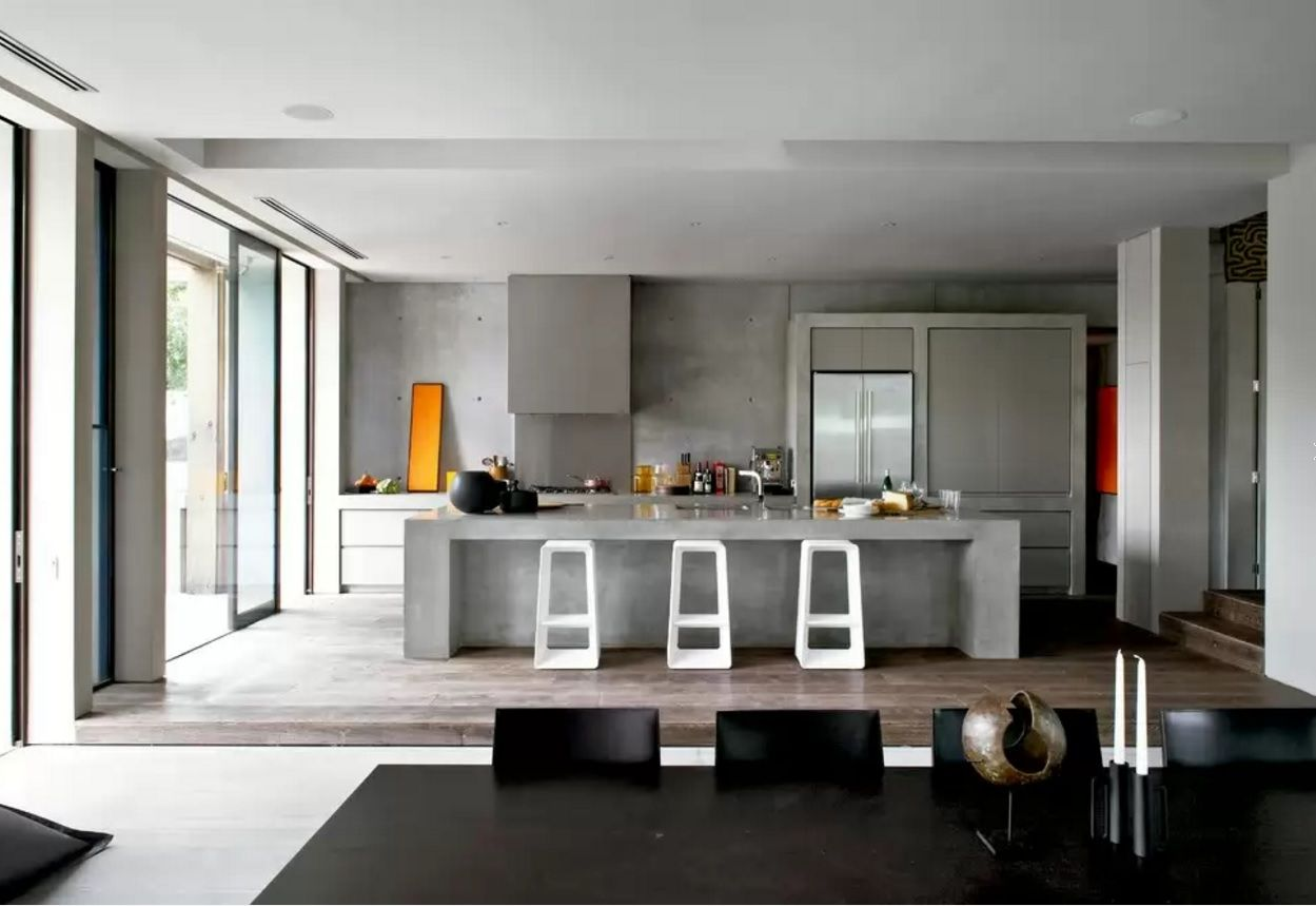 Kitchen Design Latest Trends 2016 in the interior with concrete walls looks especially true
