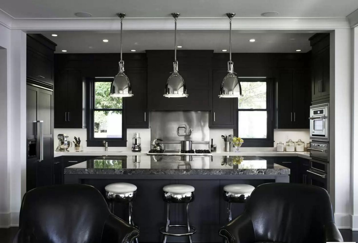 Kitchen Design Latest Trends 2016. Black kitchen with steel shades and light leather of chairs