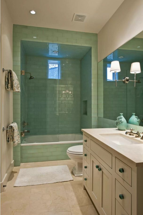 Choosing New Bathroom Design Ideas 2016. Emerald trimming of the walls creates freshness