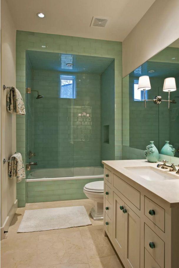 Choosing New Bathroom Design Ideas 2016. Emerald Trimming Of The Walls  Creates Freshness