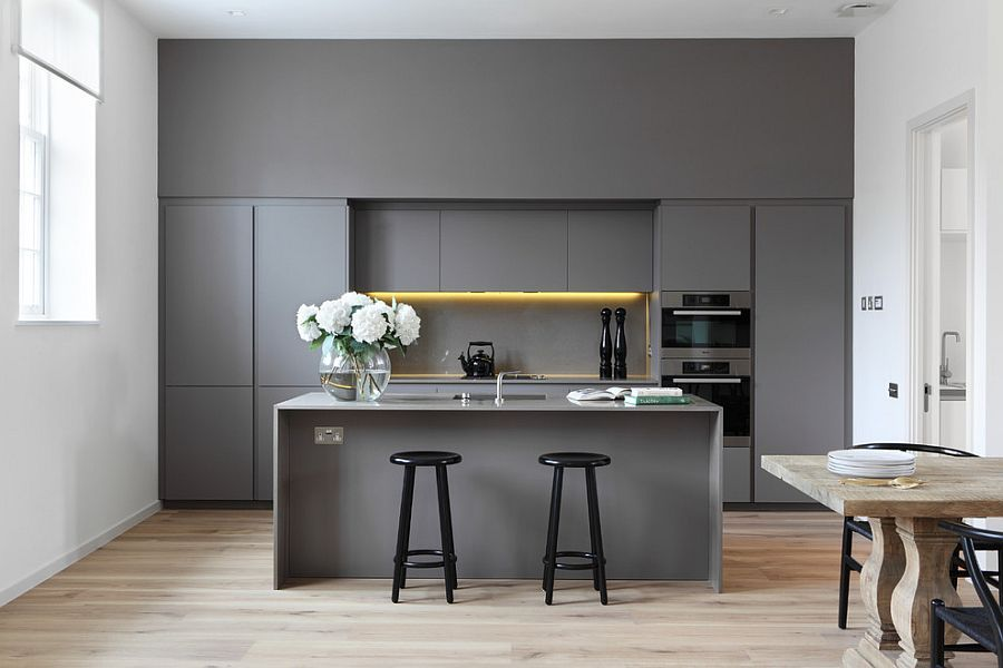 Kitchen Design Latest Trends 2016. Gray themed kitchen set with yellow backlighting