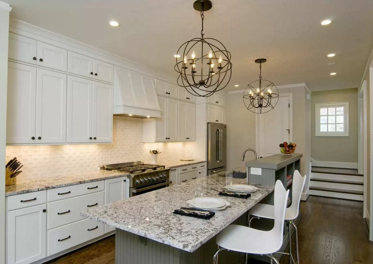 Kitchen Design Latest Trends 2016. White interior with marble countertop and furniture backlighting