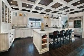 Kitchen Design Latest Trends 2016. White and black ceiling cells with built-in light