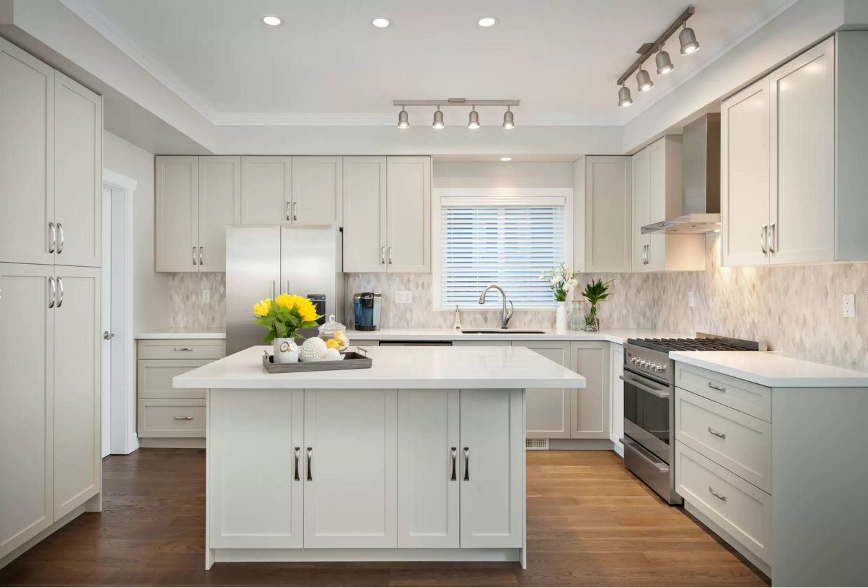 Revere Pewter Kitchen With White Cabinets