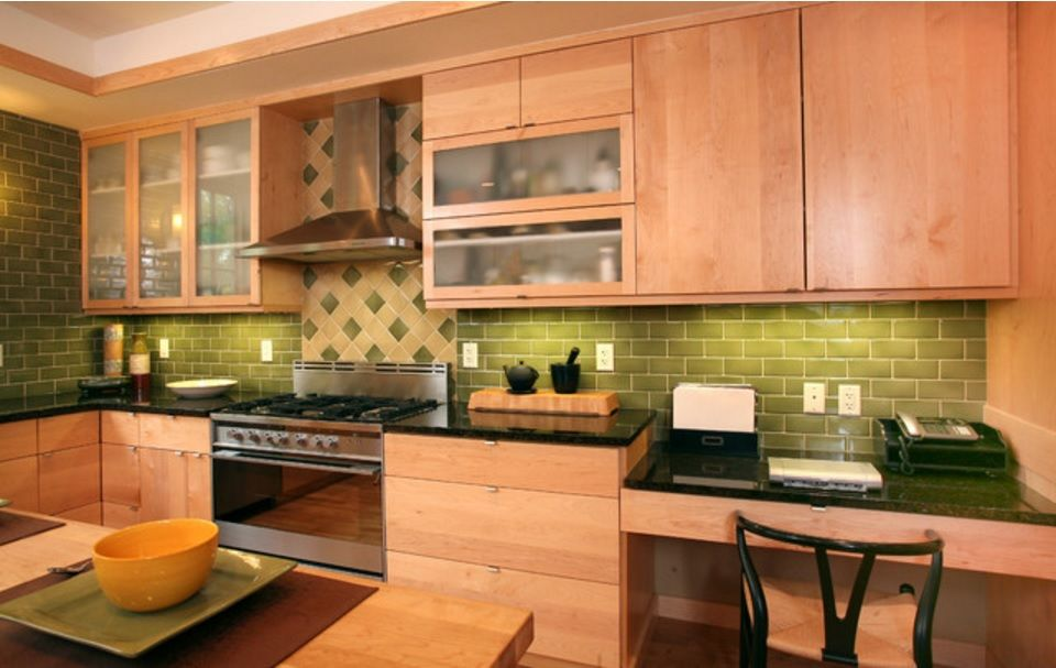 Choosing Best Kitchen Tile Ideas. Wooden furniture set and the rombic green tile cladding