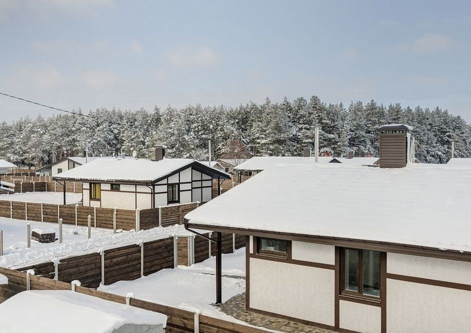 Private Houses Village Typical Design Projects in winter. Luckyville landscape