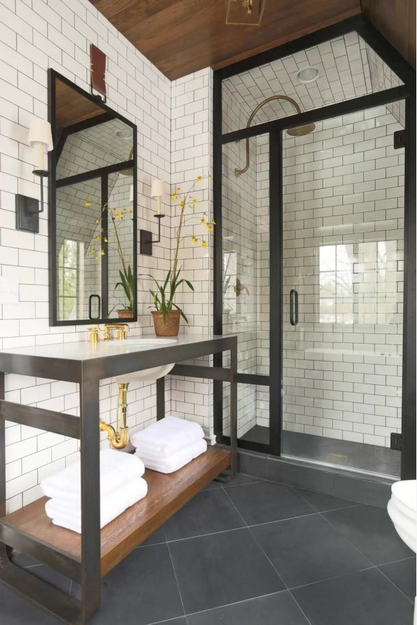 Choosing New Bathroom Design Ideas 2016. Metering the black in the frames of furniture and doors