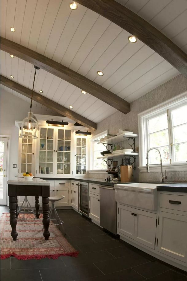 Kitchen Design Latest Trends 2016. Sloped veneered ceiling and the built-in fixtures