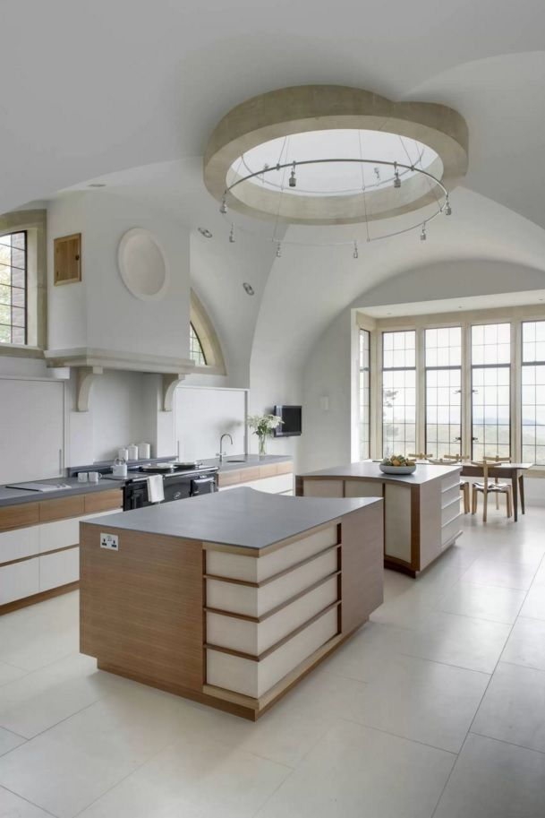 Kitchen Design Latest Trends 2016. Mutlileveled ceiling of oval forms and lines overflow