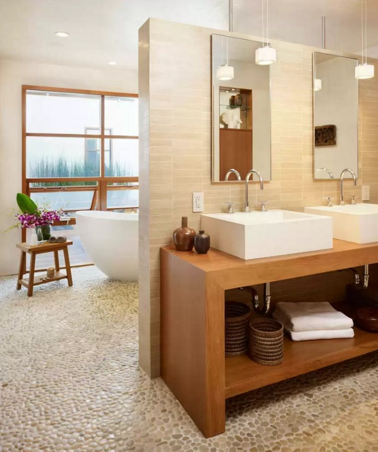 Choosing New Bathroom Design Ideas 2016. Pebble flooring in the light decorated interior