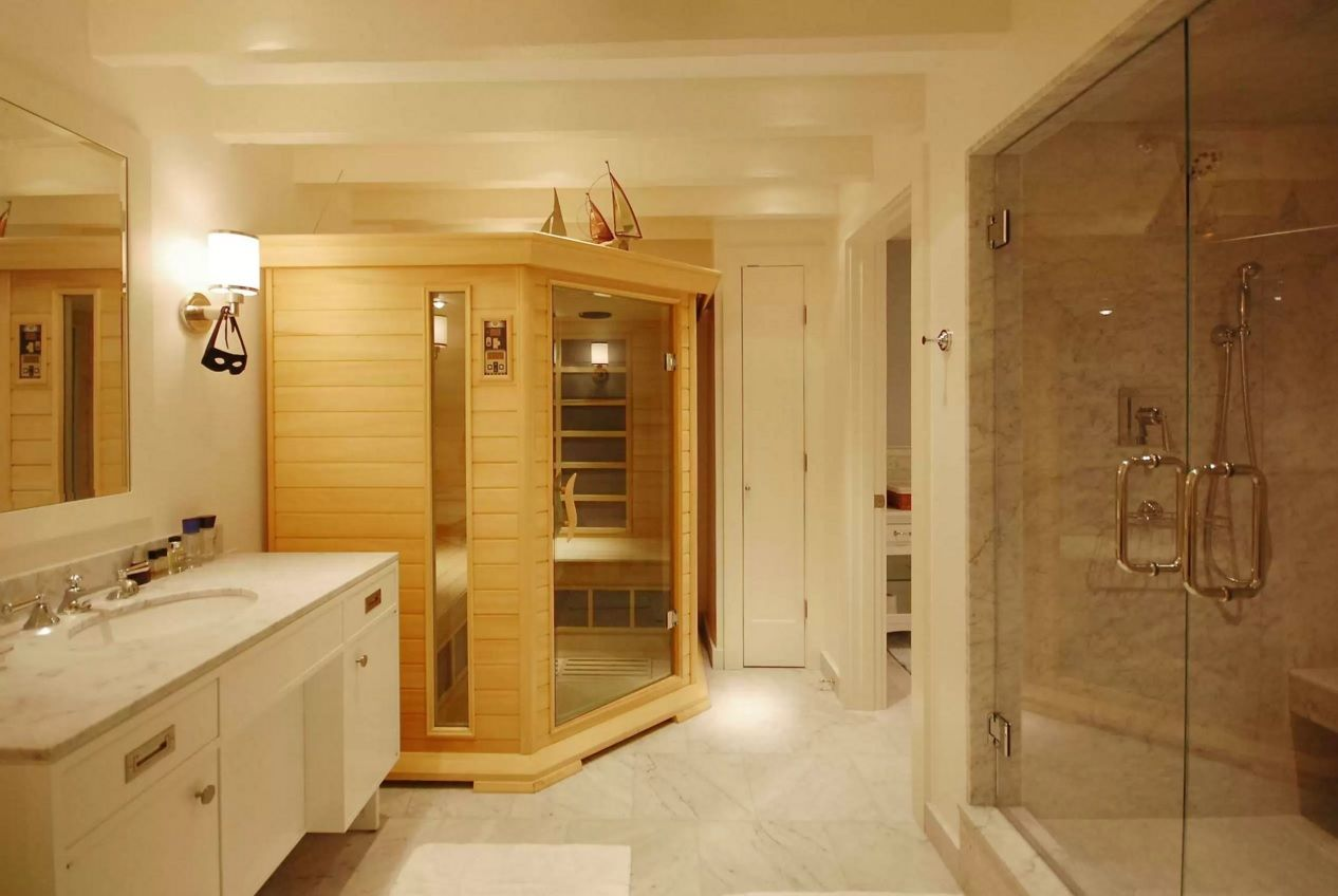Choosing New Bathroom Design Ideas 2016. Finnish sauna in the light finished practical modern area