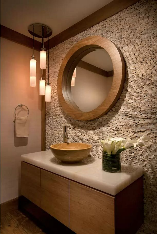 Choosing New Bathroom Design Ideas 2016. Decorative stobe material to arrange the space