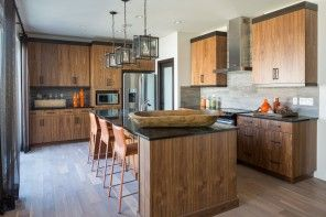 Modern Interior Design Laminate Use. Nice wooden trimmed kitchen of the island layout