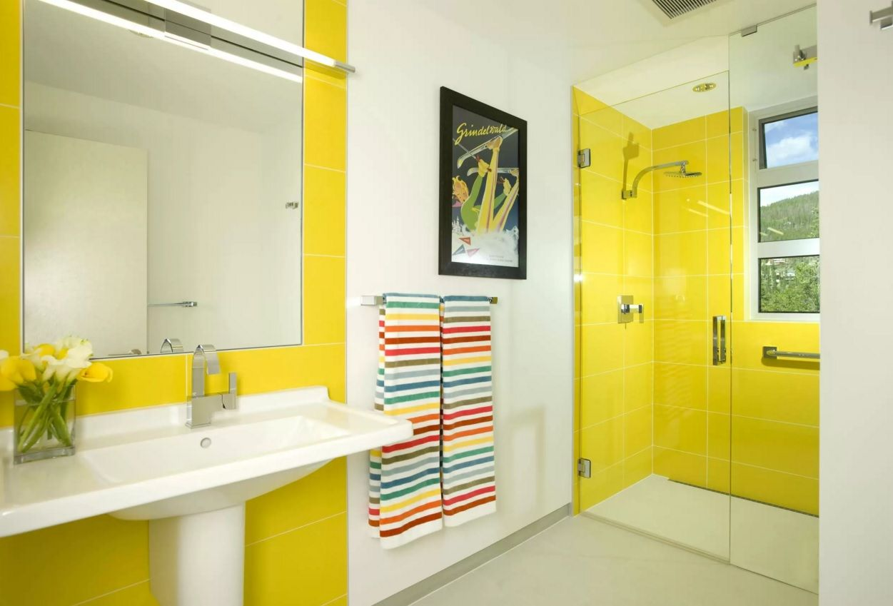 Choosing New Bathroom Design Ideas 2016. Yellow combintaion inspires with optimism