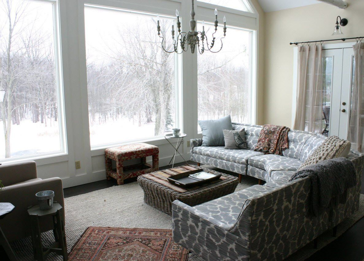 Panoramic Windows Design and Using in Modern Homes Ideas. Winter scenery from the windows of the mansion