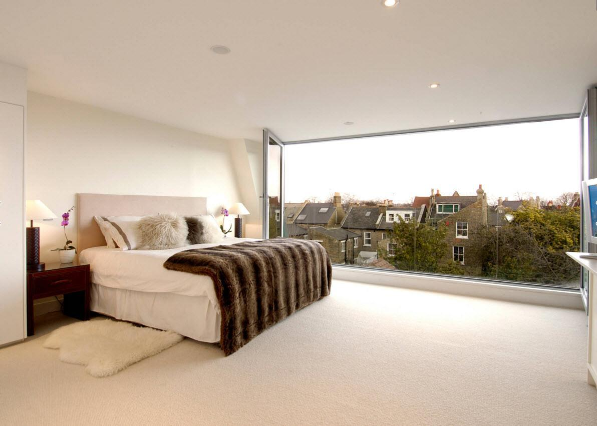 Panoramic Windows Design and Using in Modern Homes Ideas. The totally glass wall in the bedroom