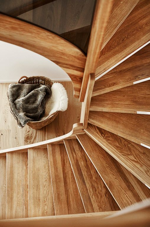 Swedish Private House Contrasting Design. Designer`s wooden stairs
