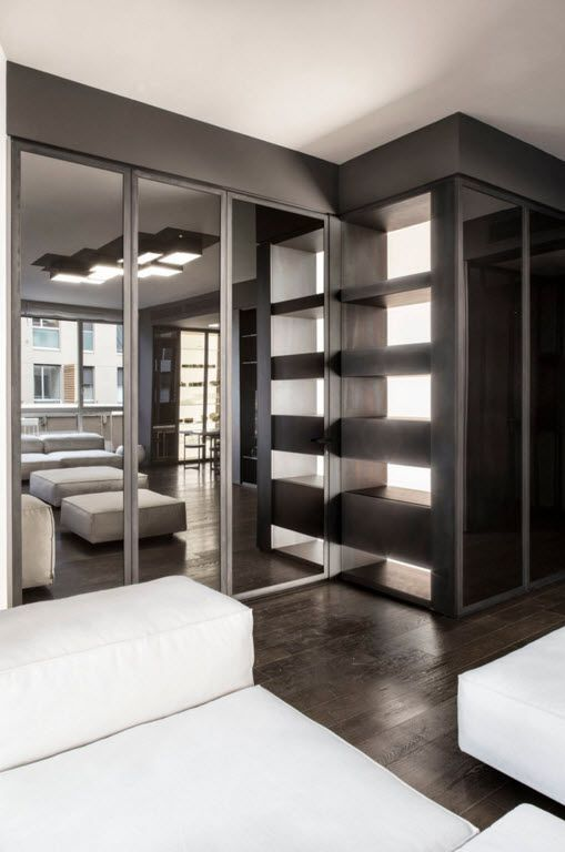 Hi-Tech Milan Apartment with Terrace Design Project. modular cabinet taking less space giving much opportunity
