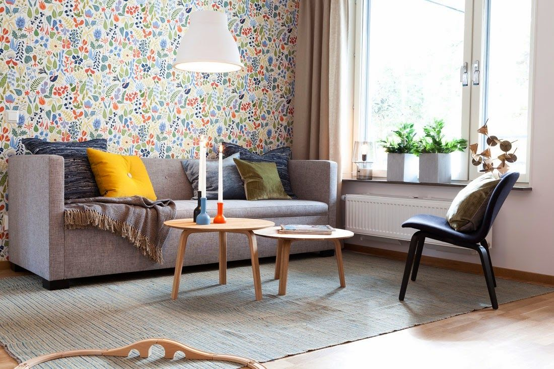 Two-Bedroom Apartment Scandinavian Style Design Review. Calm and strcit design in the living room is diversified only by the bright color gamma