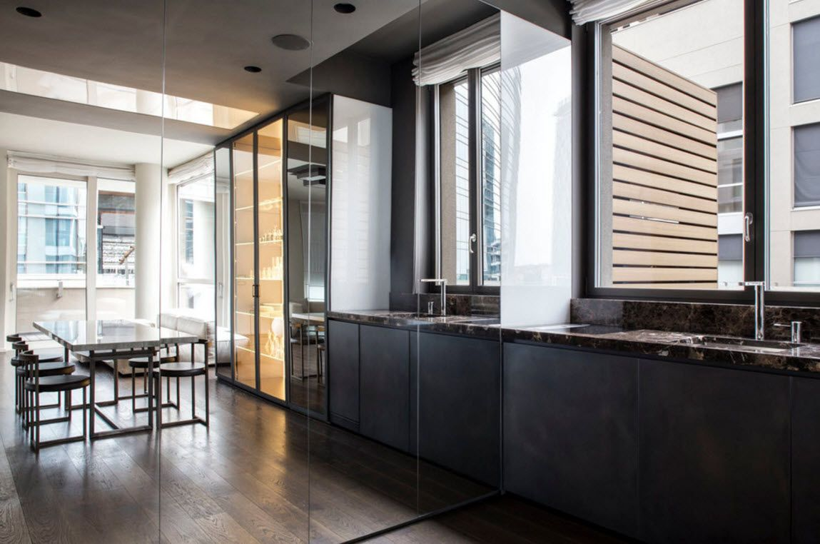 Hi-Tech Milan Apartment with Terrace Design Project. The reflection of the nice interior in the mirror surface of the cabinet can be spectacular