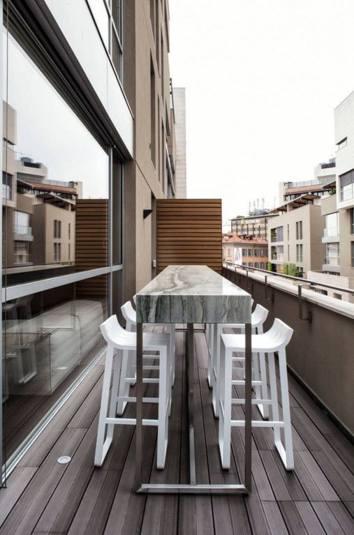 Hi-Tech Milan Apartment with Terrace Design Project. Terrace of the apartment even manage to accommodate the whole dining set of compact design