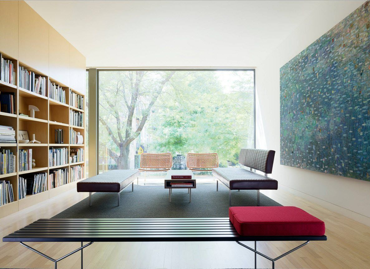 Panoramic Windows Design and Using in Modern Homes Ideas. experimental hi-tech & minimalistic styles alloy in the spacious reading room of the house