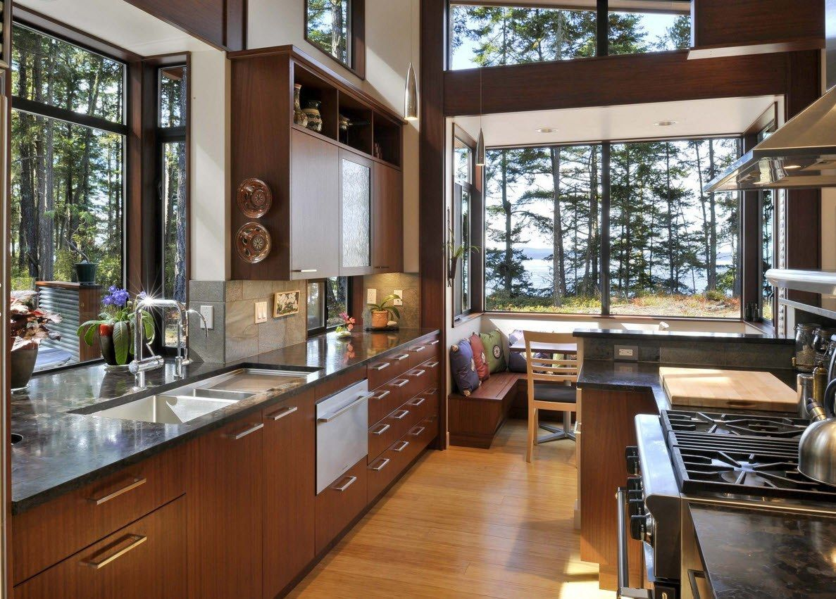 Panoramic Windows Design and Using in Modern Homes Ideas. Natural material for the kitchen set in the private house