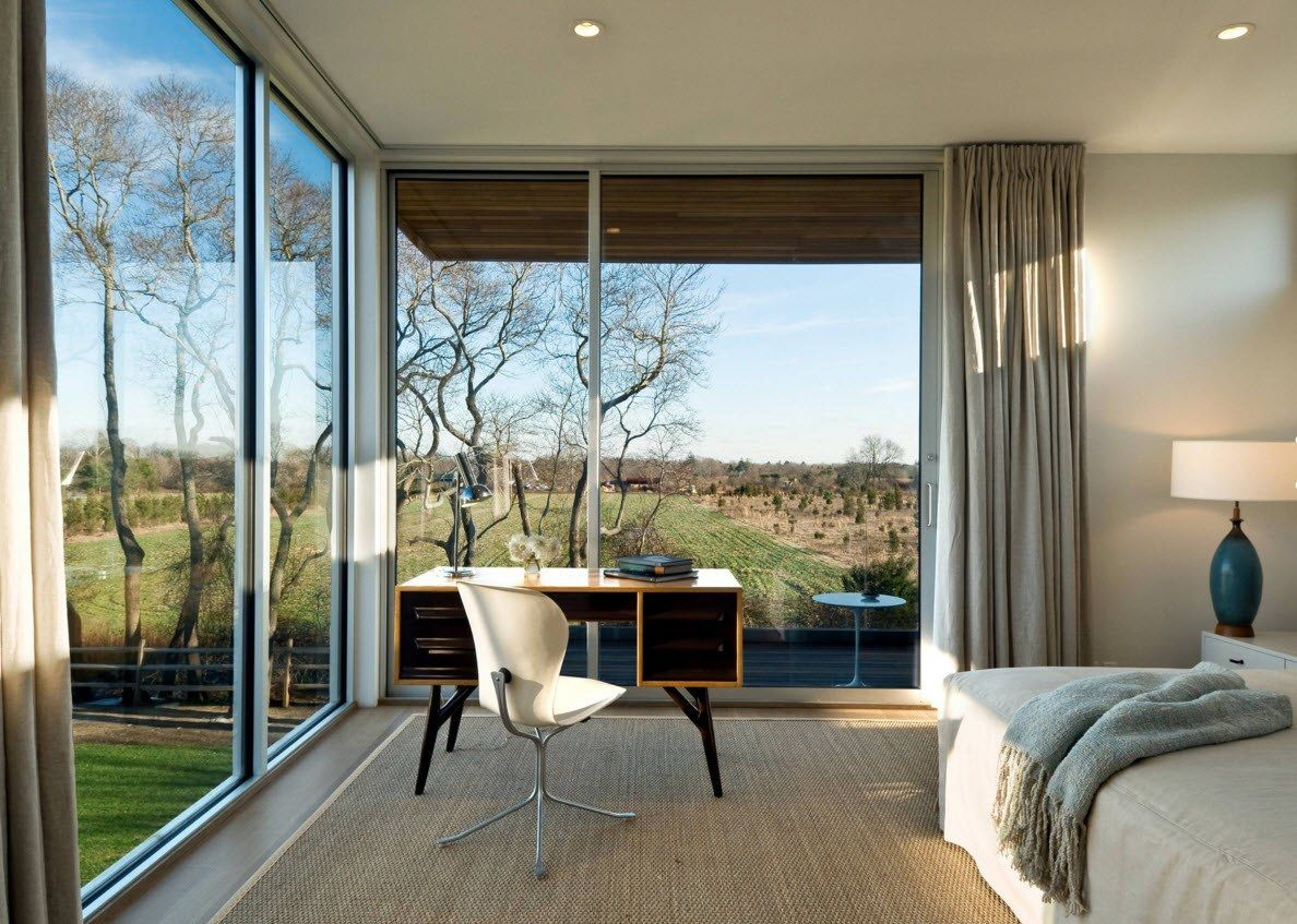 Panoramic Windows Design and Using in Modern Homes Ideas. Angle glass showcases in the bedroom