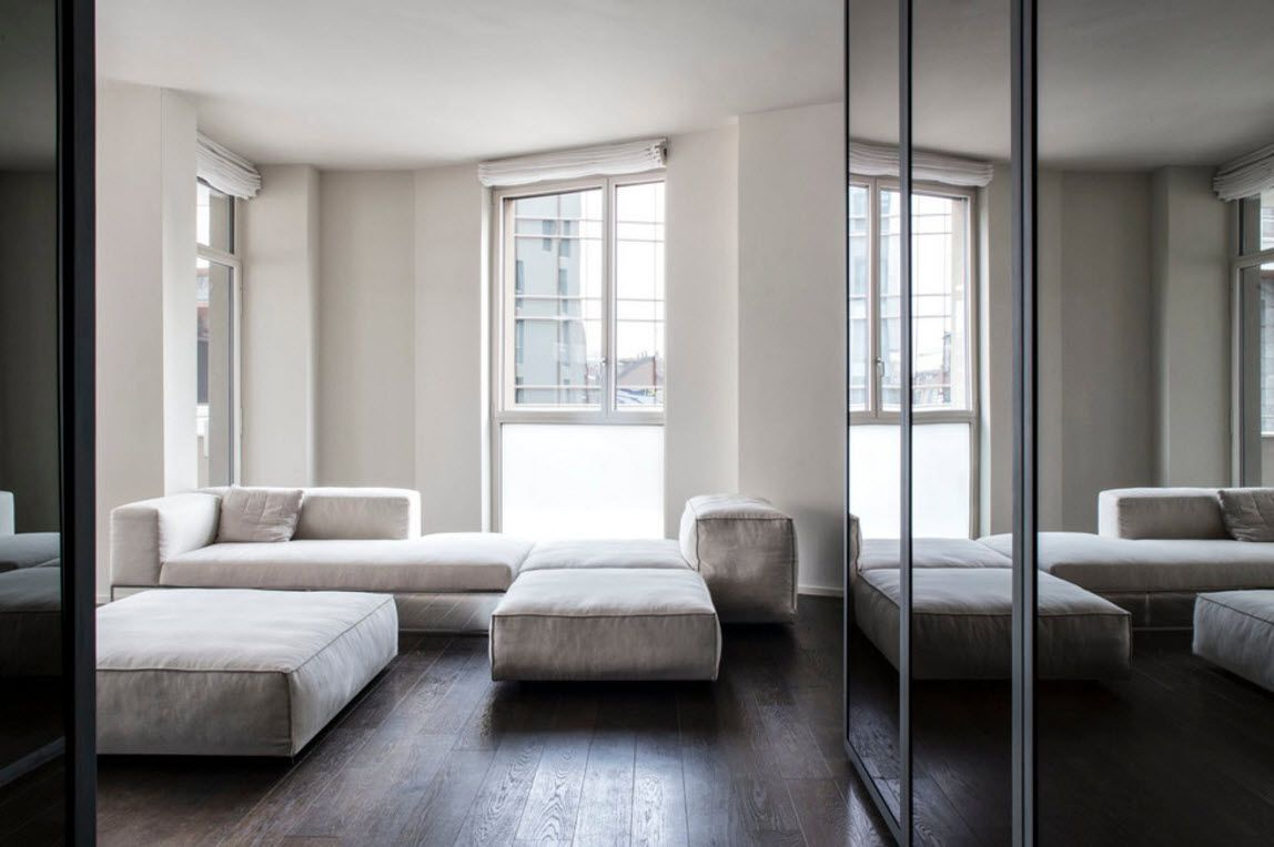 Hi-Tech Milan Apartment with Terrace Design Project. Demostrating the ability to transform the sofa in the living zone