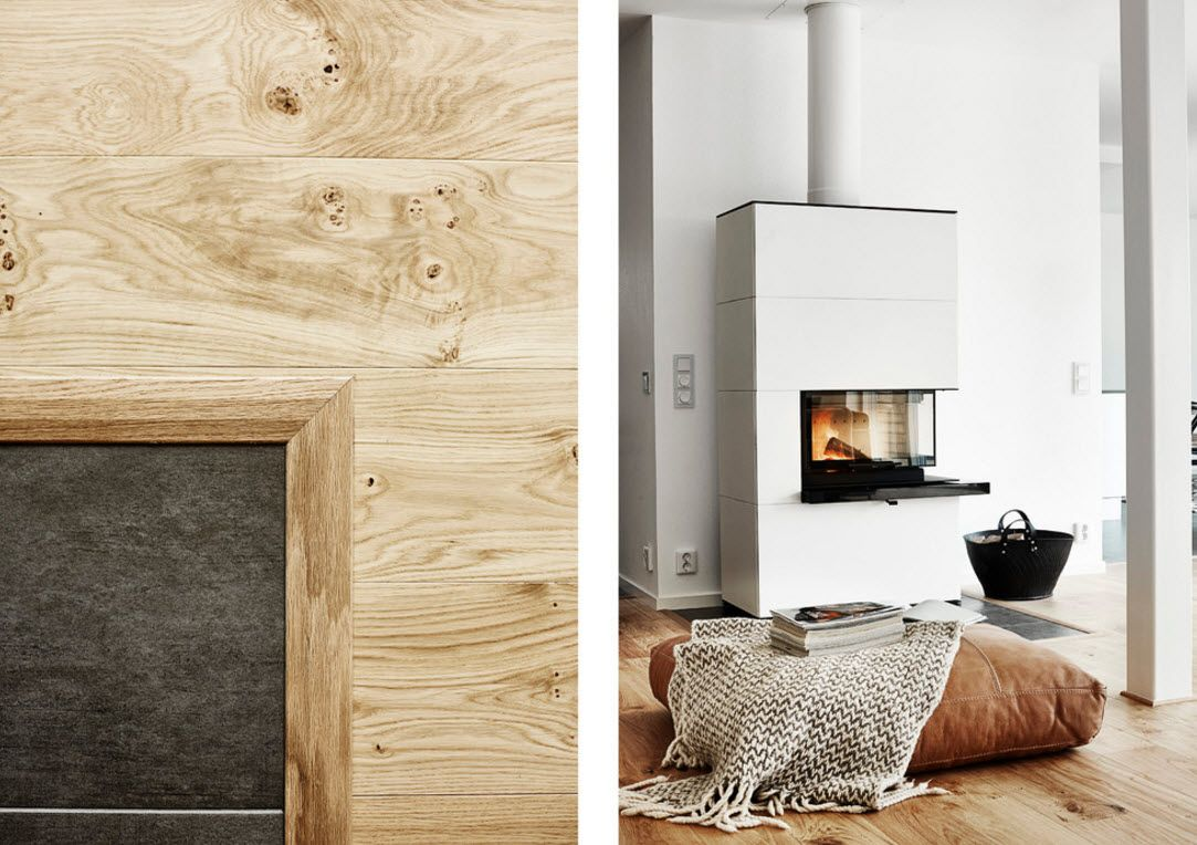 Swedish Private House Contrasting Design. No living can do without at least an eco fireplace