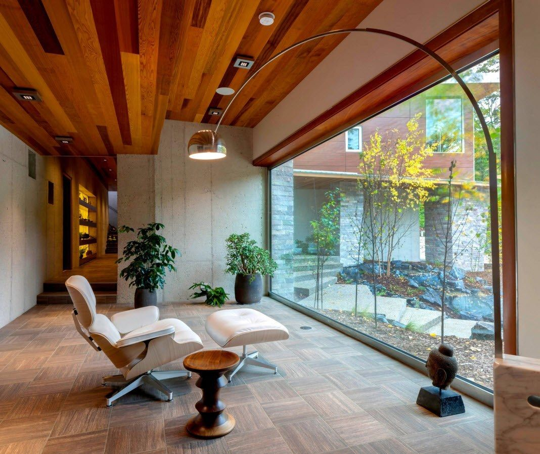 Panoramic Windows Design and Using in Modern Homes Ideas. Wide window for the observation of the outer landscape