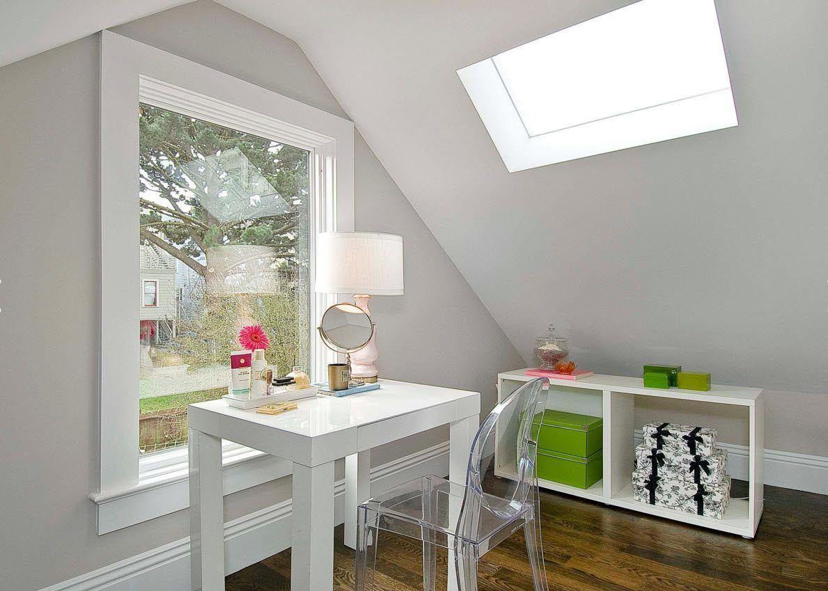 Panoramic Windows Design and Using in Modern Homes Ideas. Loft style for the small office all in white