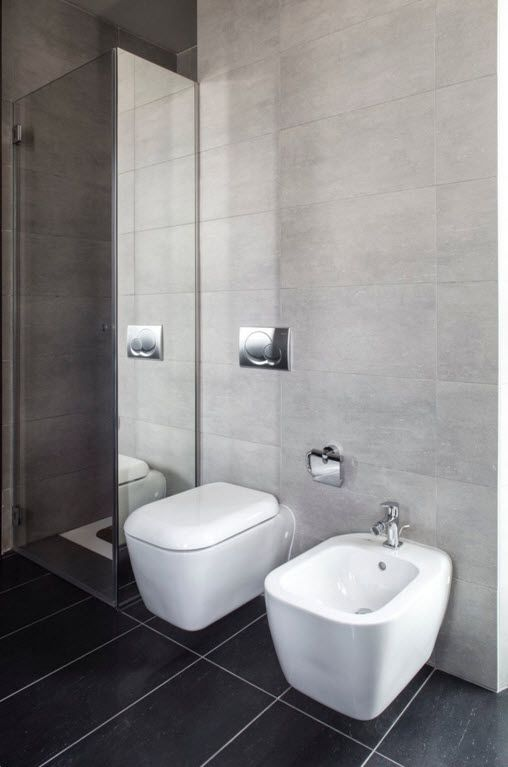 Hi-Tech Milan Apartment with Terrace Design Project. Minimalism is following the hi-tech everywhere. Even in terms of designing the toilet and bidet section