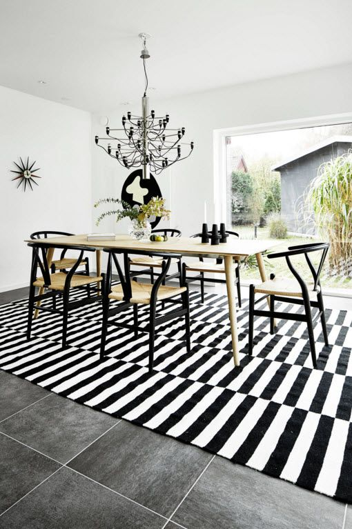 Swedish Private House Contrasting Design. Dining room with contrasting zebra rug