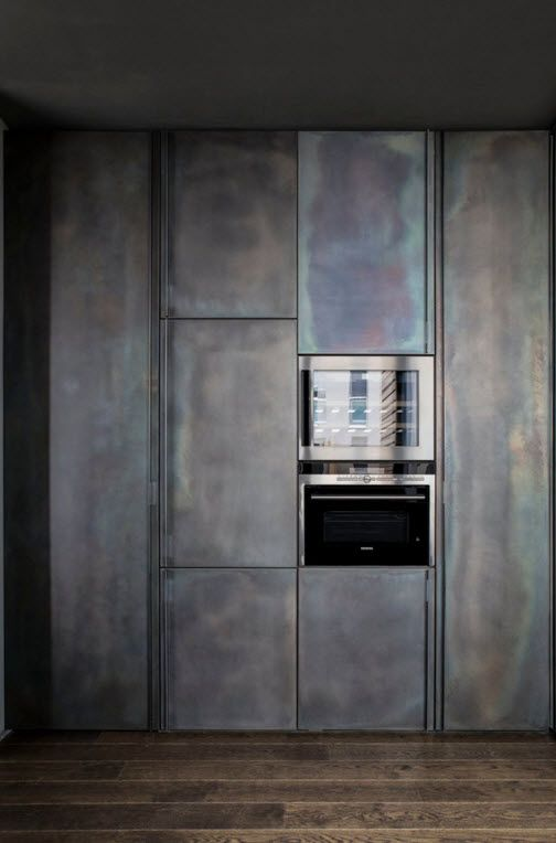 Hi-Tech Milan Apartment with Terrace Design Project. built-in refrigerator in the monolithic wall of the gray gypsum
